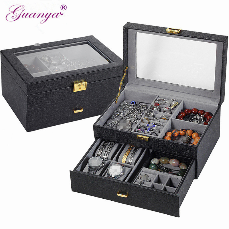 Guanya leather Jewelry Box Rings Earrings Necklaces Makeup watch Holder Case Organizer Women men Jewelery Storage
