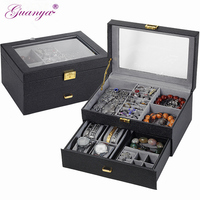 Guanya leather Jewelry Box Rings Earrings Necklaces Makeup watch Holder Case Organizer Women/men Jewelery Storage gift case