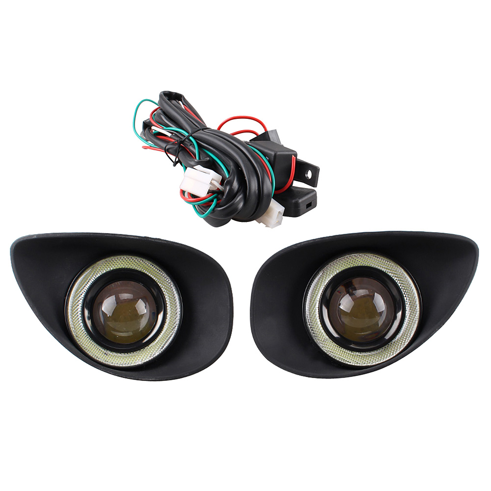 1 pair Car Clear Lens Angel Eye Fog Light Front Driving Lamp H11 Bulbs Switch Kit+Grille Cover Bezel For Toyota Yaris 2008-2010