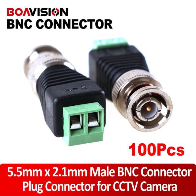 100Pcs Mini Coax CAT5 Male BNC Connector To Camera CCTV BNC Video Balun Connector Adapter