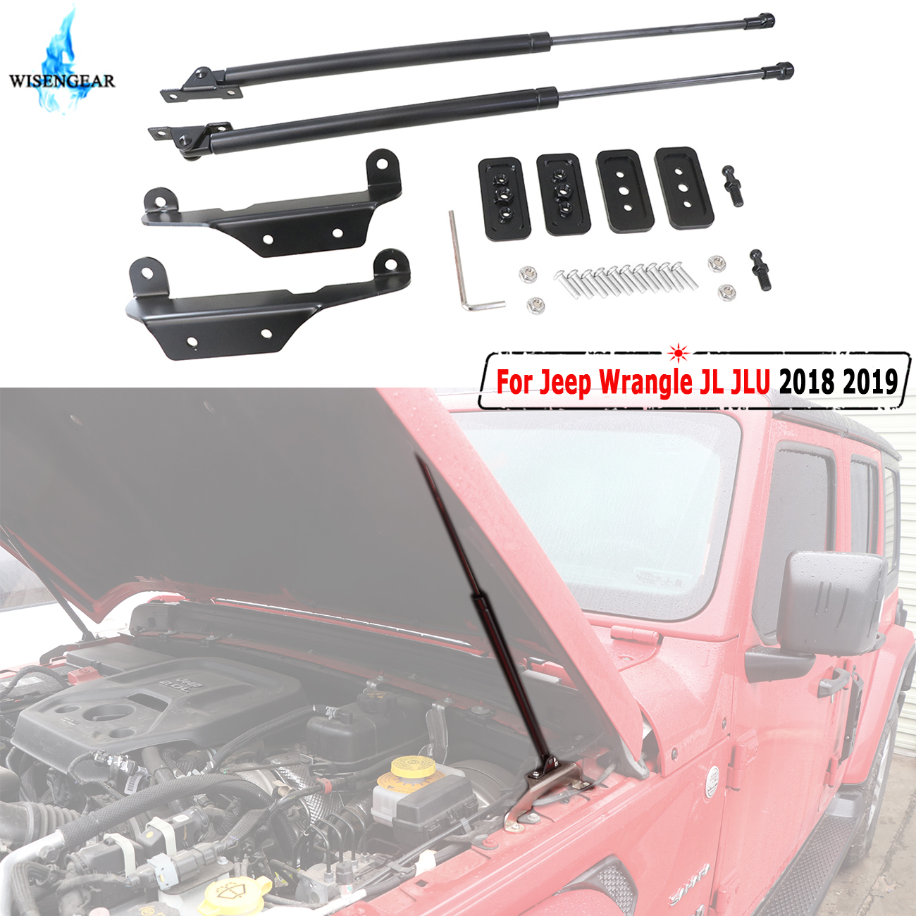WISENGREAR Front Lift Supports Struts Shocks For Jeep Wrangle JL JLU 2018 2019 Hood Gas Support