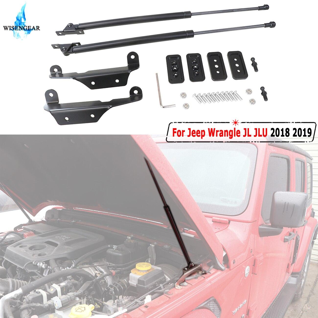 JL WISENGREAR Frente Elevação Suporta Struts Choques Para Jeep Wrangle JLU 2018 2019 Capa Gas Levante Suporte Choque Damper Amortecedores adereços