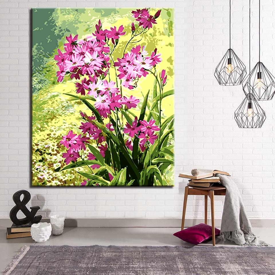 Vert Numéros Fleur À Bricolage Feuilles Peinture Par Lu0027huile Violet  GYf76yIbv
