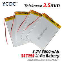 цена на 1/2/4 Rechargeable 357095 Li-ion Battery 3.7v 3500mah Cell Lithium Polymer Li Po Battery 95x70x3.5mm With Over Current Protector