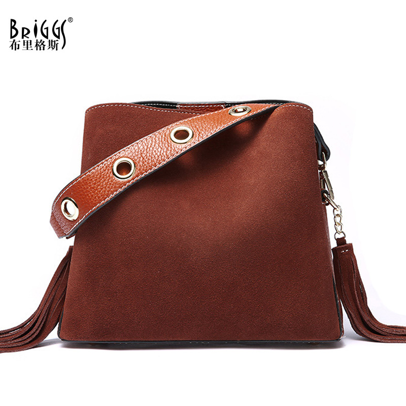 BRIGGS Tassel Genuine Leather Handbag Women Bag Female Shoulder Bag Suede Leather Women Messenger Bags Bucket Tote Bag cobbler legend brand tassel tote bag genuine leather handbag women shoulder bag female real leather messenger bags tassen
