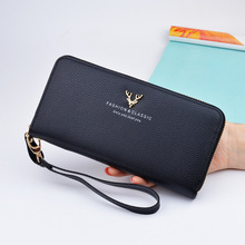 Woman's wallet Card Wallets zipper Female Purse Leather  Long Coin Holder Phone Wallet Metal Christmas Deer Cash Pocket 242 2017 new fashion wallet female women purse long zipper solid candy color metal christmas deer wallets pu card holders design
