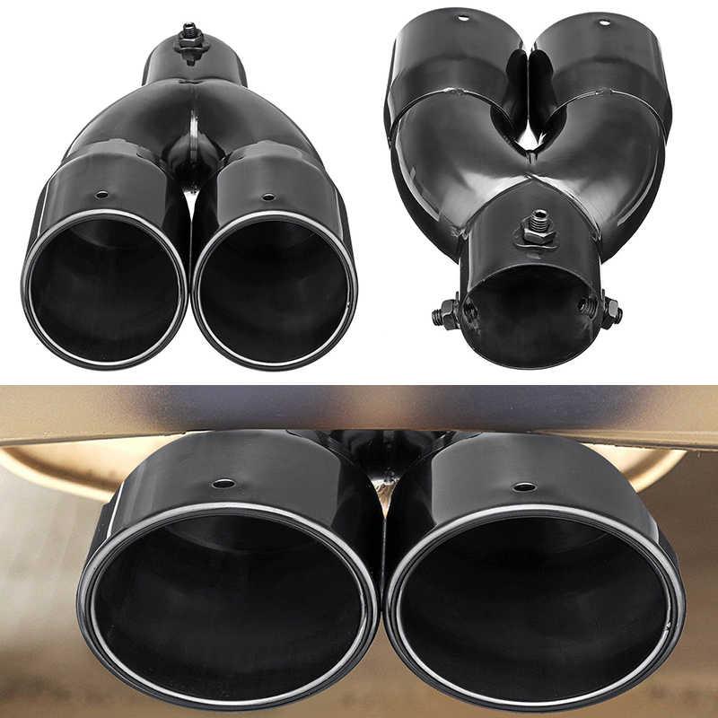 63 ミリメートル自動ダブルバレル黒リアデュアル排気管テールヒントマフラーユニバーサル