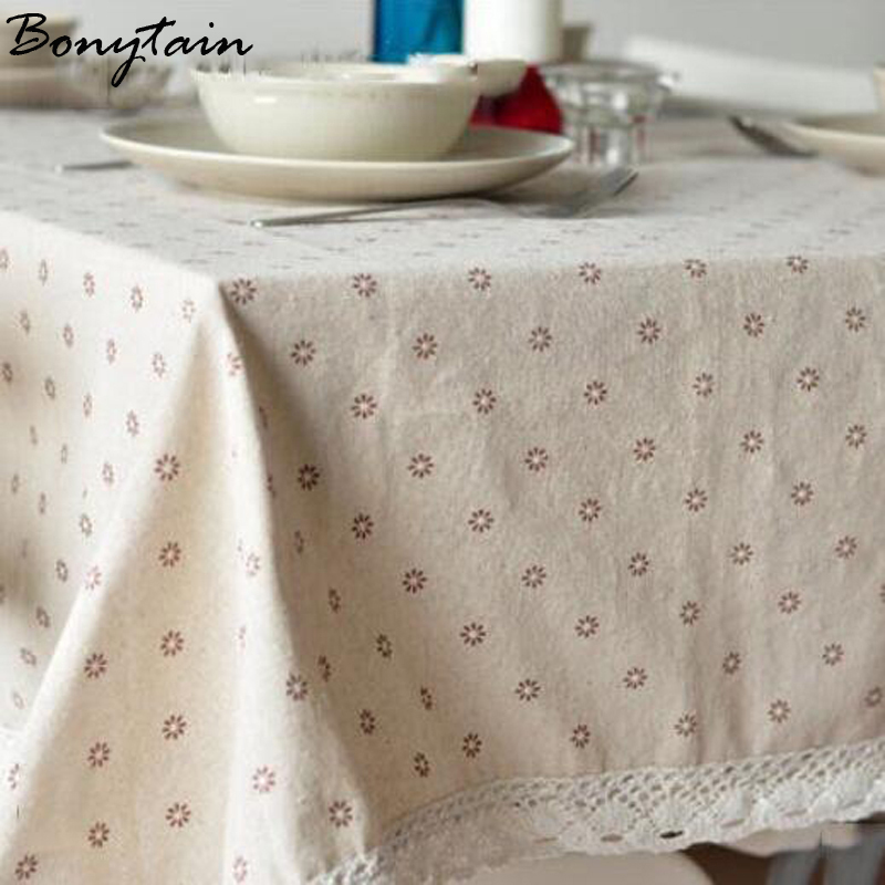 Pastoral Cute Little Cherry Flower Printed Cotton Linen Tablecloths Tea Table Cloth Cover Kitchen Living Room