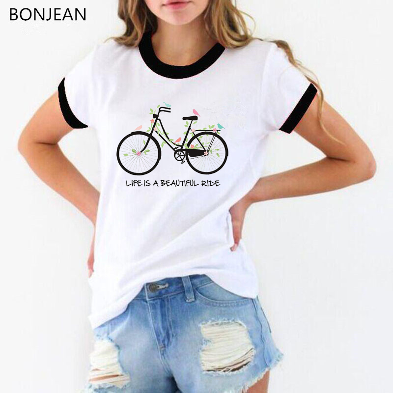2019 Summer T Shirt women Bicycle Leaves Birds printed Tshirt harajuku kawaii t shirts white funny top female tee shirt in T Shirts from Women 39 s Clothing
