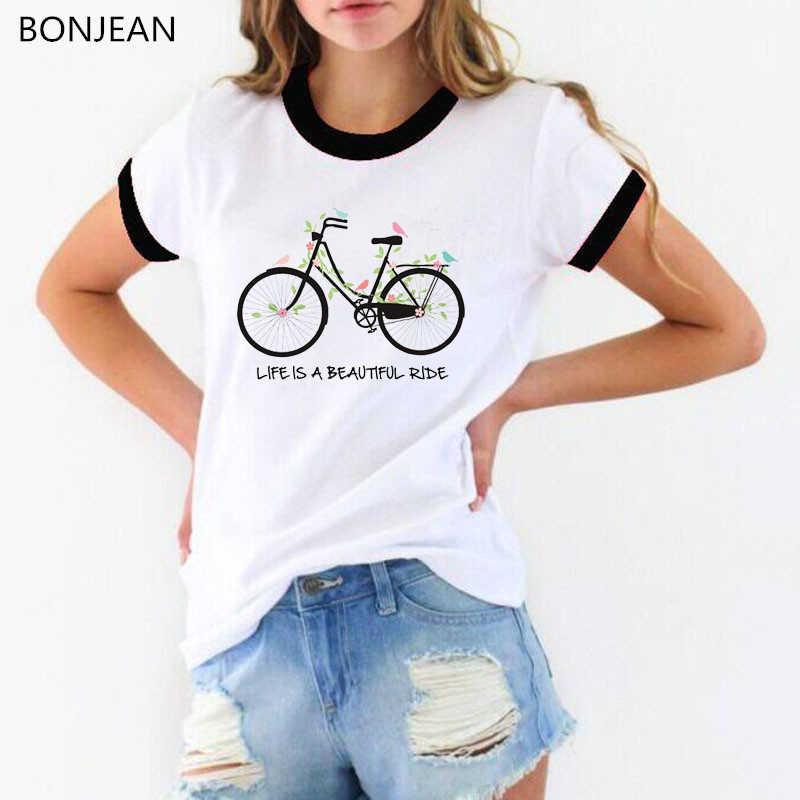 2019 verão t camisa das mulheres bicicleta folhas pássaros impresso tshirt harajuku kawaii t camisas branco engraçado superior feminino camisa