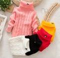 Unisex outono inverno cor sólida bebê camisola de gola alta Pullover Outerwear