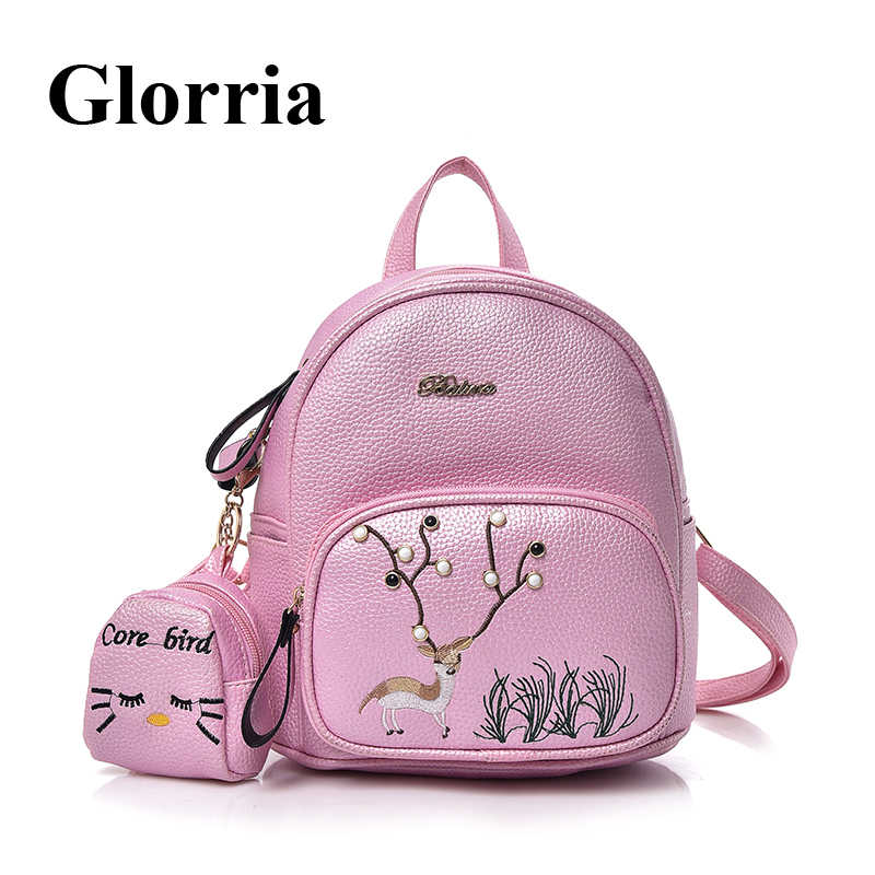 92514ed99 2019 Leather Women Backpack Purse Cute Small Backpacks Female School Bag  Student Backpack For Teenage Girls