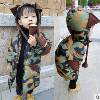 Winter Kids Long Style Coat Camouflage Cotton  Jacket Girls Boys Warm Outwear Hooded Parkas Children Clothing 2016 winter dinosaur monster jacket fashion girls boys cotton hooded coat children s jacket warm outwear kids casual wear 16a12