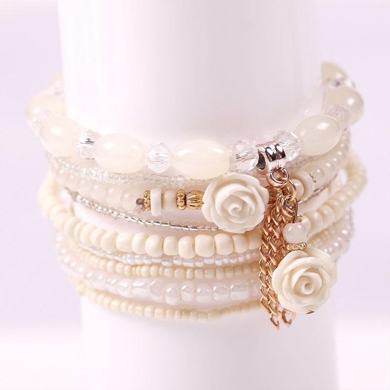 Multilayer Permen Warna Kristal Beads Gelang Set Untuk Wanita - Perhiasan fashion - Foto 6