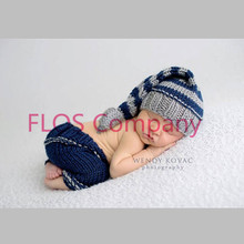new novel 2pcs hat+pants Long tail Elf Striped Clothes baby set Toddlers handmade newborn infant photography props