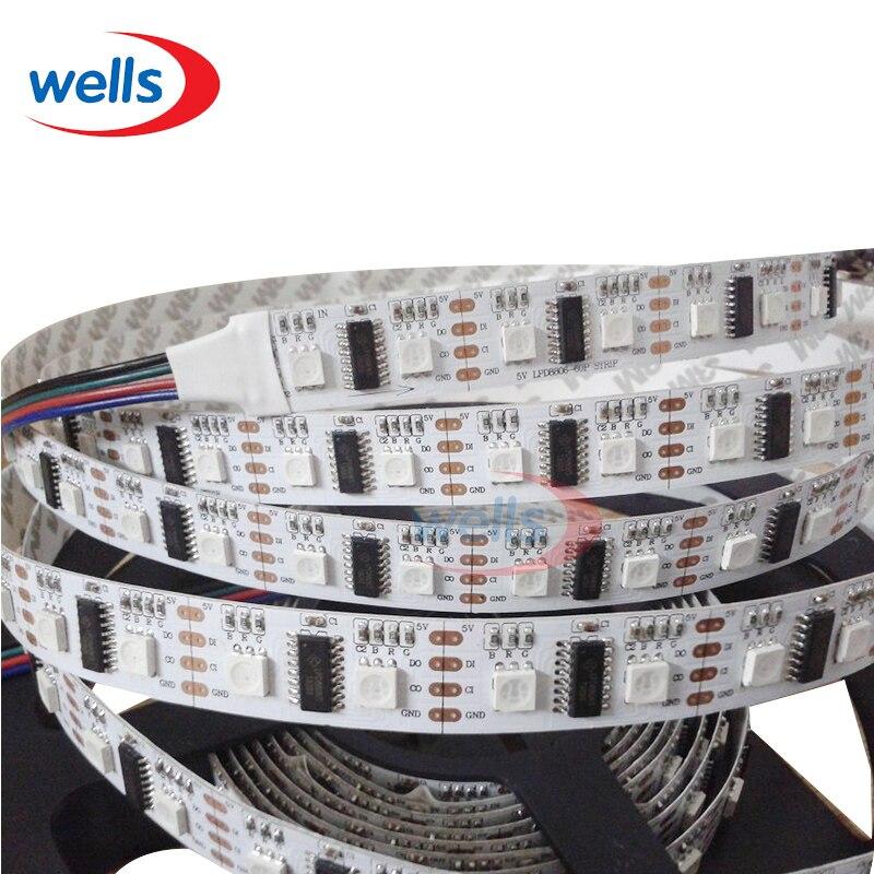 DC5V 1m/5m LPD8806 5050 RGB 32/48/52/60leds/m (1 IC - 2 Chip) LED Pixel Digital addressable LED Strip Light DC5V 32 8pixels sk6812 rgb addressable led digital flex panel light size 320cm 80cm dc5v input