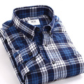 2016 Casual Men Shirt Men's High Quality Brand Long Sleeve big man Plaid Shirt Dress Shirts Free Shipping