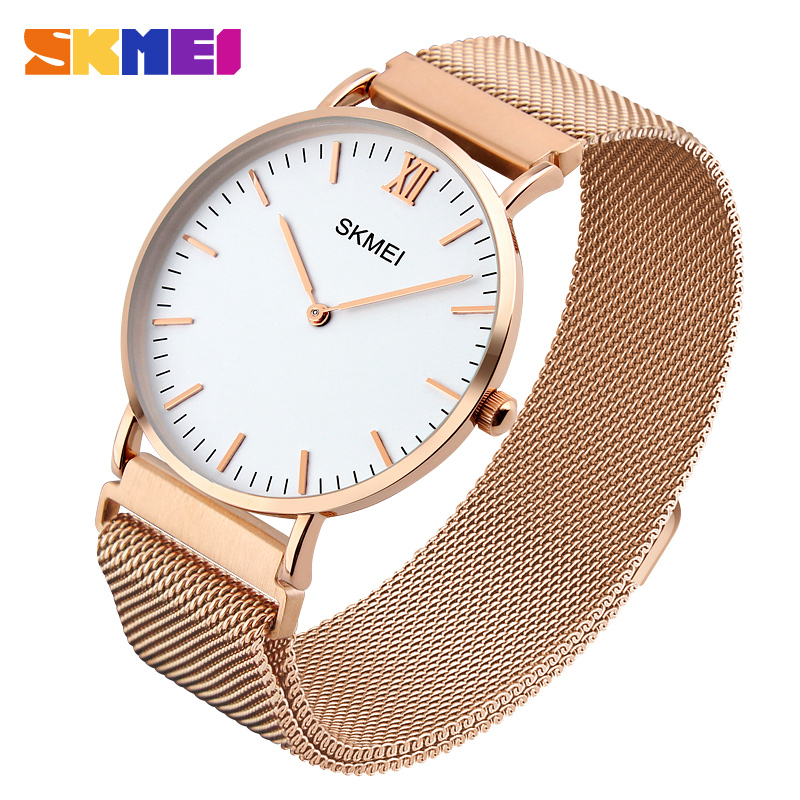 SKMEI Ultrathin Design Lovers Watch New Mens Watches Top Brand Luxury Clock Men Stainless Steel Magnetic Mesh Band Women Watches