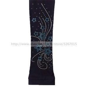 Image 2 - Колготки для фигурного катания, женские штаны/брюки для катания на коньках, спортивный костюм, черные эластичные колготки для выступлений с узором в виде пентаграммы