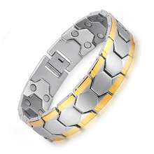 European and American Fashion Mens Stainless Steel Gold Double Magnet Bracelet Flux