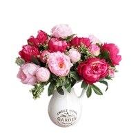 7 thủ trưởng Nhân Tạo peony1 Bouquet Nhân Tạo Hoa lụa Sống Động Hoa Mẫu Đơn hoa Cưới trung tâm Trang Trí Nội Thất Đảng flore