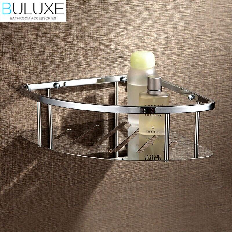 все цены на BULUXE Brass Chrome Finished Bathroom Accessories Corner Shelf Wall Mounted Prateleira Bath accessoire salle de bain HP7727