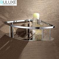 BULUXE Brass Chrome Finished Bathroom Accessories Corner Shelf Wall Mounted Prateleira Bath accessoire salle de bain HP7727