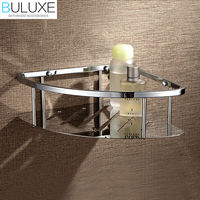 BULUXE Brass Chrome Finished Bathroom Accessories Corner Shelf Wall Mounted Prateleira Bath accessoire salle de bain HP7727