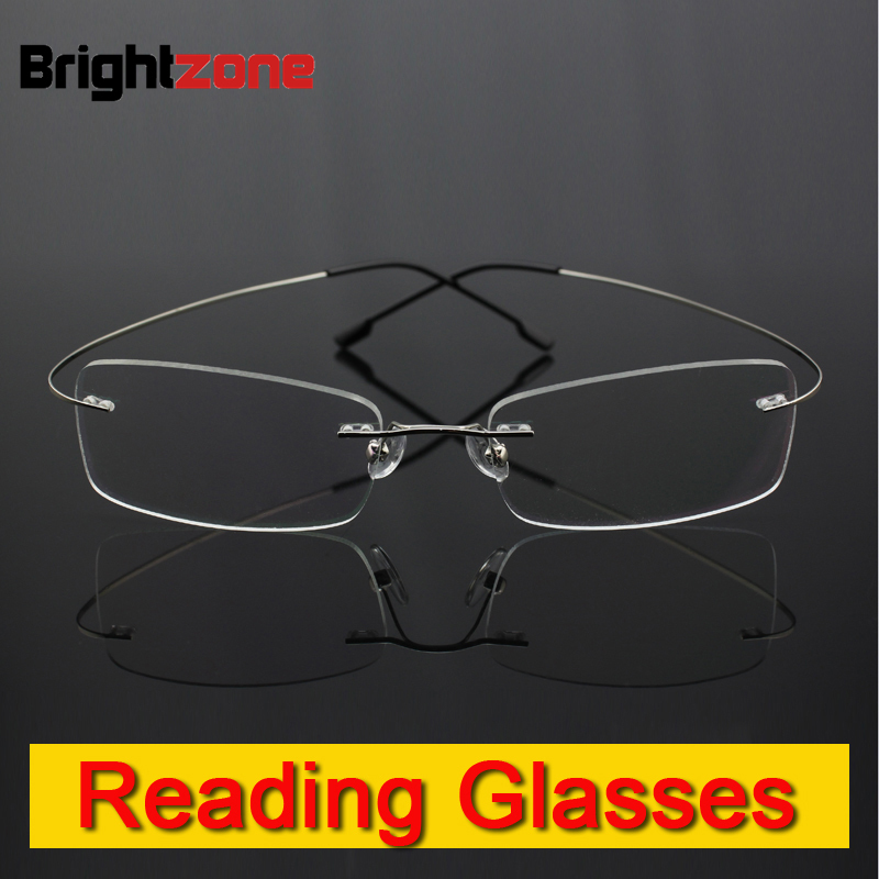 Memoria sin rebordes Titanium gafas flexibles gafas de lectura presbicia lupas + 1.0 + 1.5 + 2.0 + 2.5 + 3.0 + 3.5 + 4.0