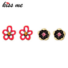 KISS ME 2 Pairs / Set Red Enamel Crystal Flower Small Stud Earrings 2018 Zinc Alloy Vintage Earrings for Women Cute Jewelry(China)