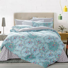 high quality cotton fresh style flat sheet linens floral border print gray green bedding sets queen
