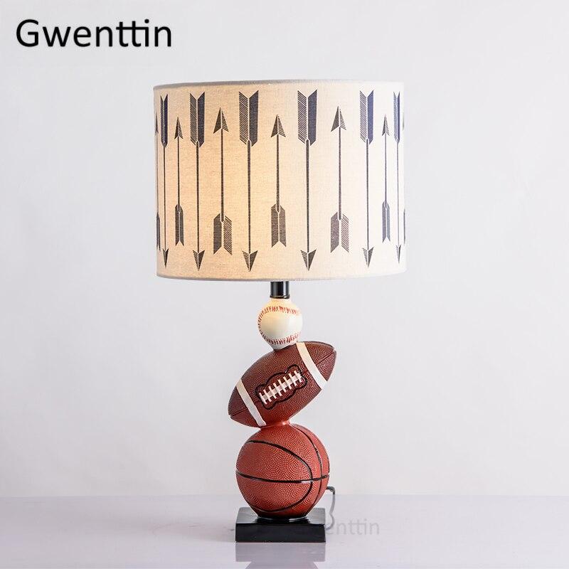 Lampes modernes de Table de Football de basket-ball pour la lampe de chevet de chambre à coucher de salon a mené la lumière de support d'enfants de chambre lumières de bureau déco à la maison