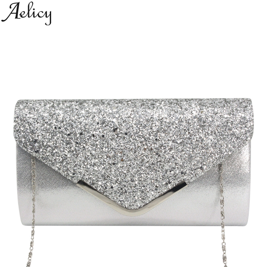 Aelicy 2019 Fashion Women Sequins Leather Bag Cocktail Party Bag Chain Phone Bag Ladies Clutch Bag Women Evening Party Luxury