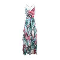 summer western style fashion cute sexy slim print cross backless SML XL XXL woman's Casual spaghetti strap long dress