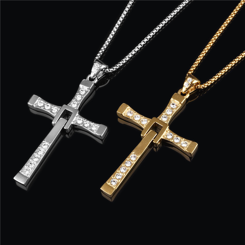 Jiayiqi Vintage Punk Statement Necklace Stainless Steel Male Silver Color Cross Crystal Necklace&Pendants For Men Jewelry 2017