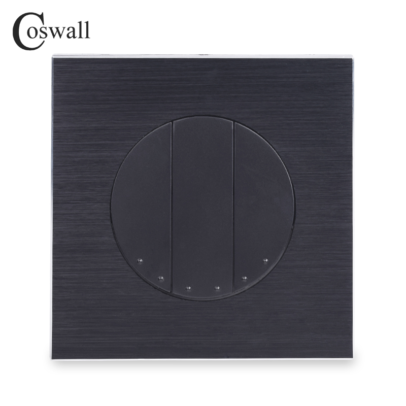 Coswall Luxurious 3 Gang Reset Switch Momentary Contact Switch Pulse Switch Wall Push Button Switch Black Aluminum Metal PanelCoswall Luxurious 3 Gang Reset Switch Momentary Contact Switch Pulse Switch Wall Push Button Switch Black Aluminum Metal Panel