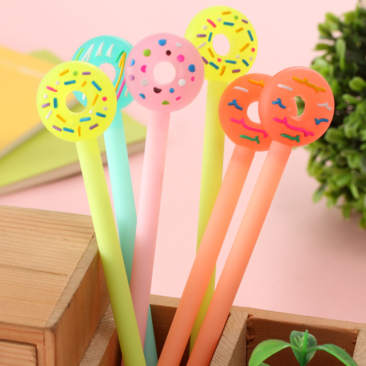 48 Pcs Gel Pens Cartoon Donut Pen Black Ink Gel-inkpens for Writing Cute Stationery Office School Supplies Wholesale Donut Pen deli gel pens office 12 pcs black ink stationery pen cute school supplies creative stationery for writing high quality pen
