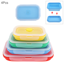 4pcs/set 350 / 500 800 1200 ML Portable Rectangle Collapsible Silicone Scalable Folding Lunchbox Bento Box with Sealing Plug