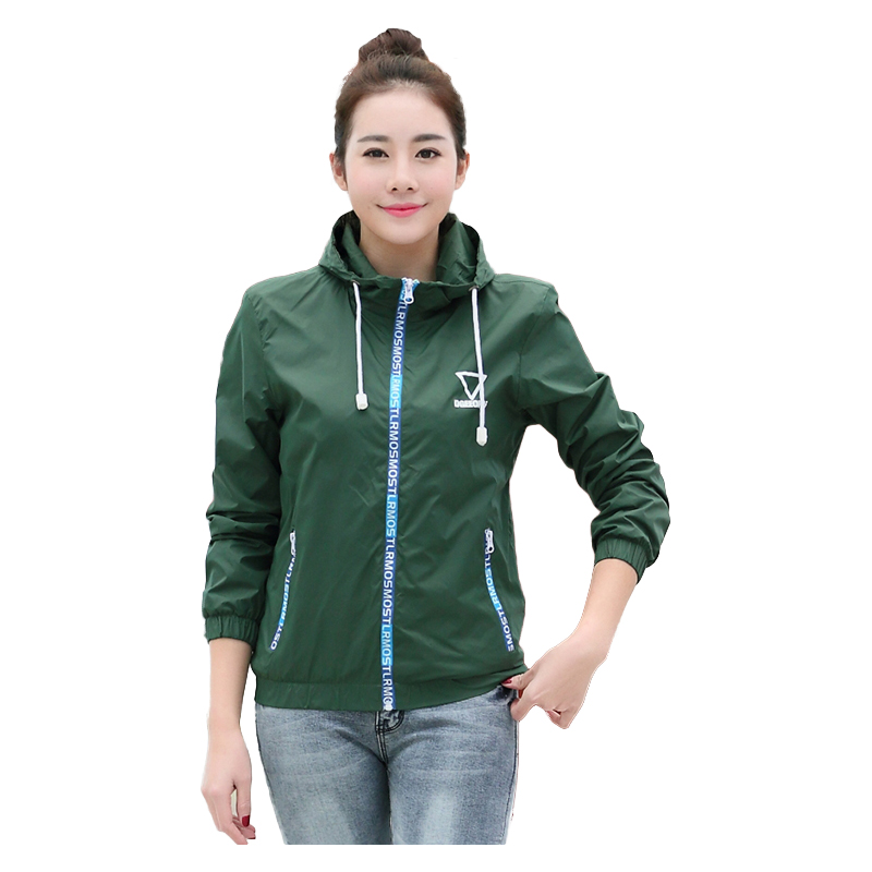 Jacket   Women Windbreaker 2018 Autumn Women's   Jacket   Coat Hooded Female   Jacket   Fashion sold Thin   basic     jacket   For Women outerwear