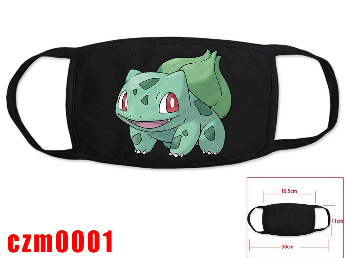 Hot Anime Poke Mon Cosplay Black Face Collection Gift Hip Hop Fashion Mask Unisex With Poke Mon Character