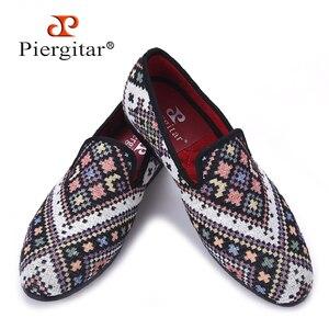 Piergitar/Новинка; Разноцветные мужские лоферы в этническом стиле; мужская повседневная обувь в клетку; тапочки для вечеринки; мужская обувь на ...