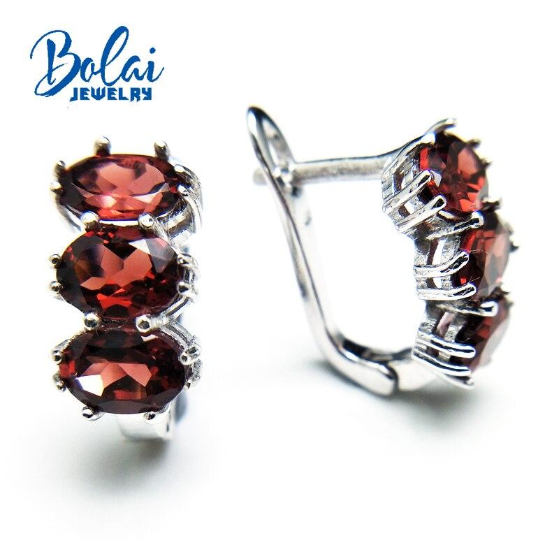 Bolaibijoux, 2018 nouveau naturel rouge grenat ovale 5*7 coupe 3ct pierres précieuses fermoir boucle d'oreille 925 en argent sterling beaux bijoux femmes cadeau boîte