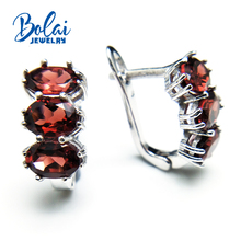 Bolaijewelry,2018 new natural red garnet oval 5*7 cut 3ct gemstone clasp earring 925 sterling silver fine jewelry women gift box bolaijewelry 100% natural labradorite gemstone bracelet 925 sterling silver fine jewelry for women mom anniversary party gift