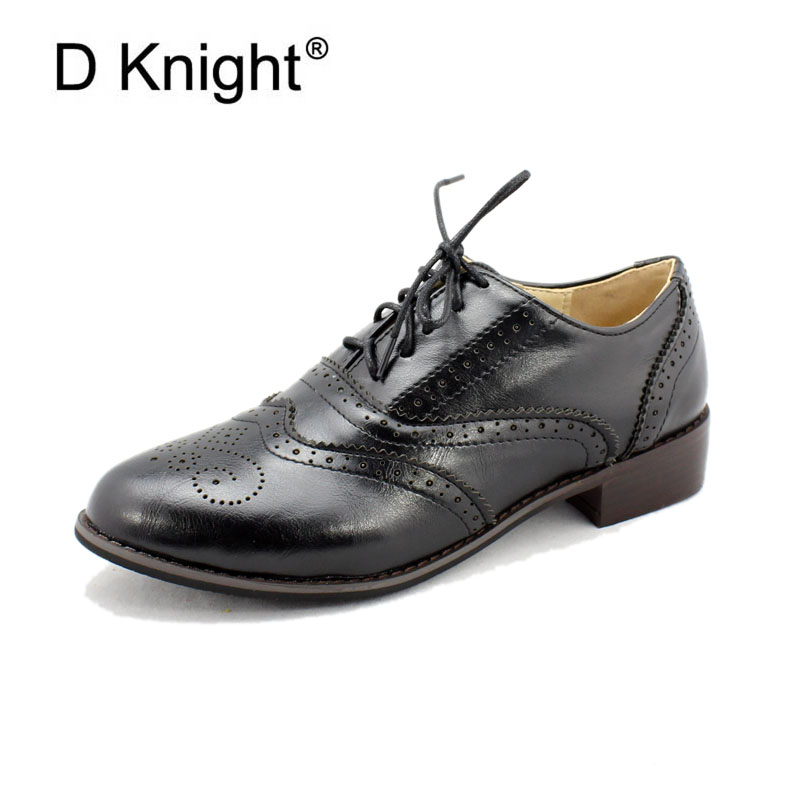 Vintage British Style Women Casual Flat Oxfords Fashion Round Toe Lace Up Women Brogue Oxfords Size 34-43 Women's College Flats fashion retro british style heel patent leather shoes women deep mouth pointed toe lace up oxfords flats plus size 34 43