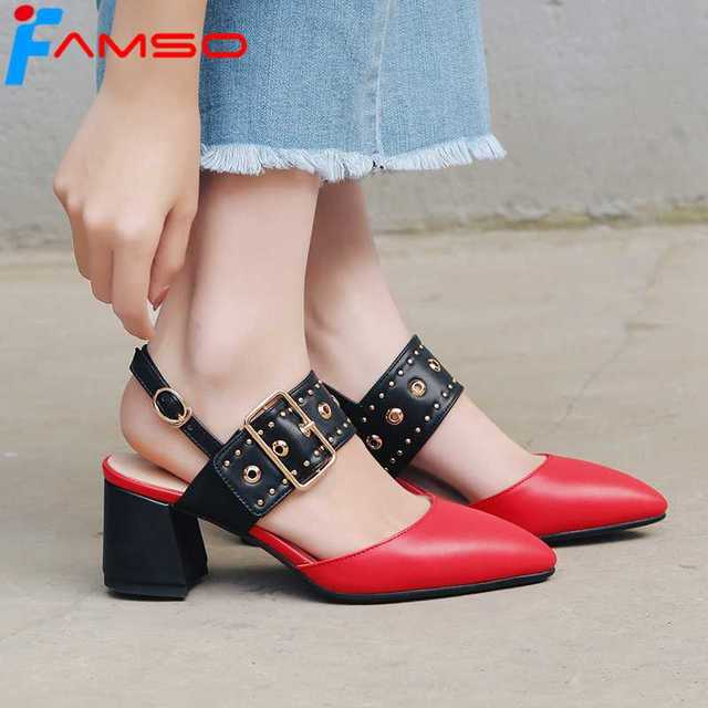 c40bcab1b4c FAMSO Size34-43 2018 New Arrival High Heels Prom Pumps Pointed Toe Buckle  Slingbacks Pumps