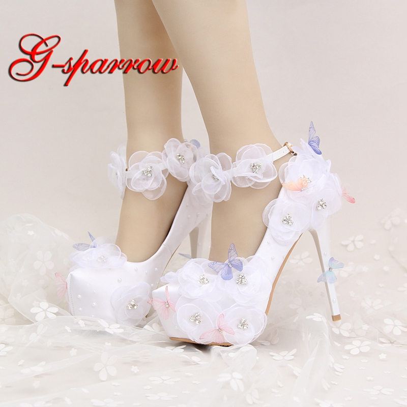 2018 Nice Wedding Shoes Beautiful Flower and Butterfly Bride Party High Heels with Ankle Straps Prom Pumps White and Red Color2018 Nice Wedding Shoes Beautiful Flower and Butterfly Bride Party High Heels with Ankle Straps Prom Pumps White and Red Color