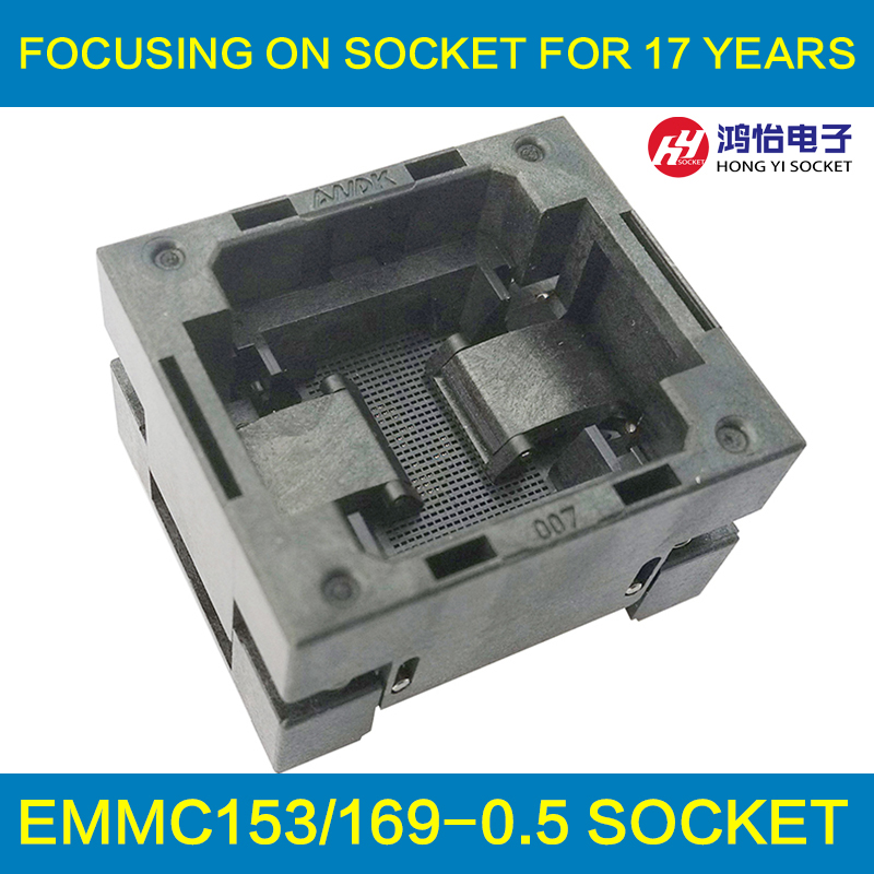 eMMC153/169 Reader Test Socket IC Body Size 12x16mm Pitch 0.5mm BGA153 BGA169 Burn in Socket Adapter Flash Data Recovery analysis transform pcb board emmc analysis assay plates for test device transforming signal out to the ic in socket