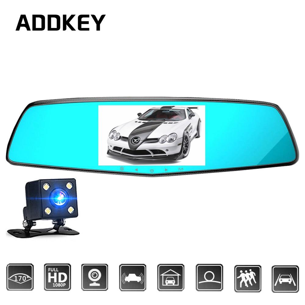 imágenes para ADDKEY NTK96655 Cámara Auto Del Coche Dvr Novatek 4.5 Pulgadas IPS Espejo retrovisor de Doble Lente de La Cámara de Visión Nocturna FHD 1080 P de Vídeo grabadora