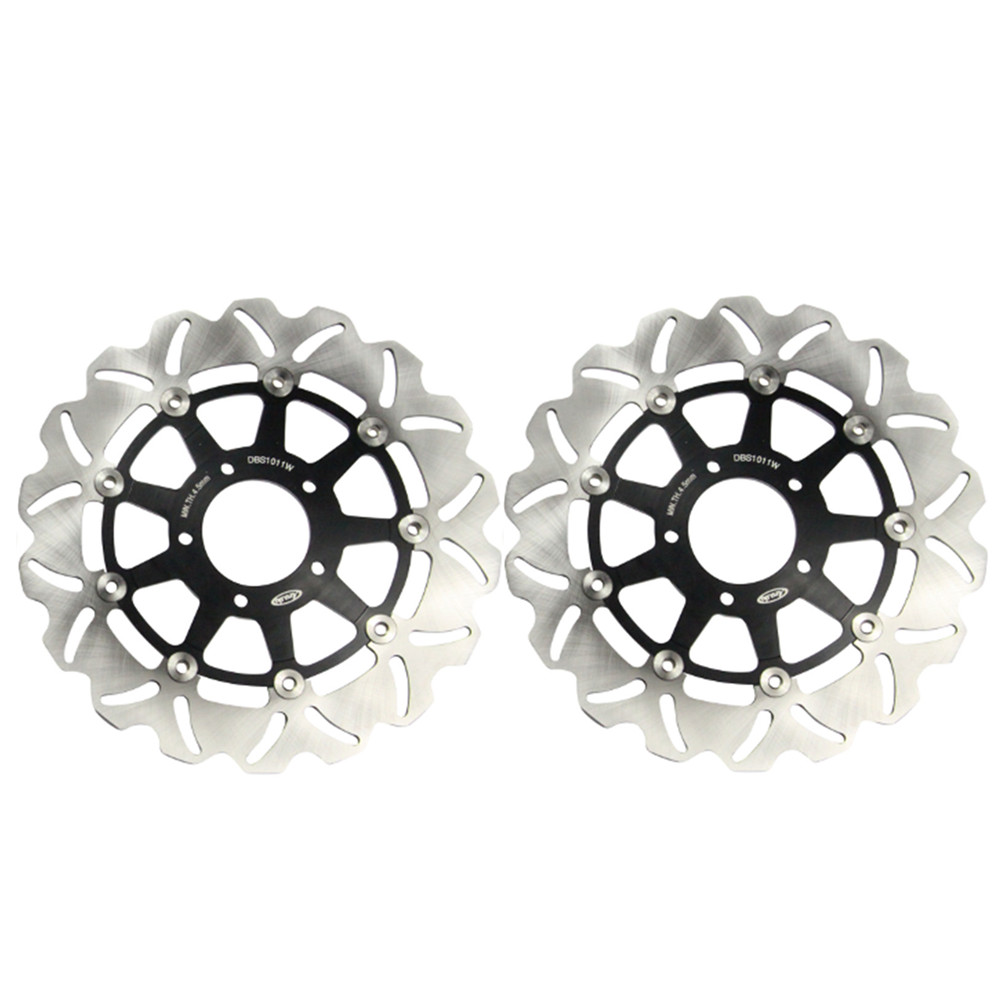 Pair Motorcycle Steel Front Brake Rotors Discs Braking Disks L/R for Suzuki DL 650 V-STROM 2004-2006 Kawasaki KLV 1000 2004-2007 mfs motor motorcycle part front rear brake discs rotor for yamaha yzf r6 2003 2004 2005 yzfr6 03 04 05 gold