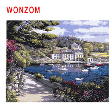 WONZOM Beach Boat Diy Painting By Numbers Town Path Tree Oil Cuadros Decoracion Acrylic Paint On Canvas Modern Wall Art